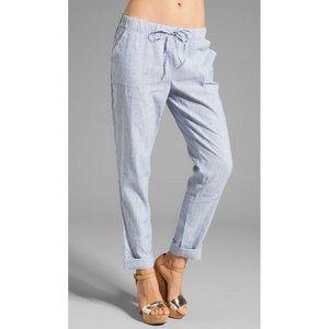 Joie Edana B Textural Blue Stripe Linen Pants S